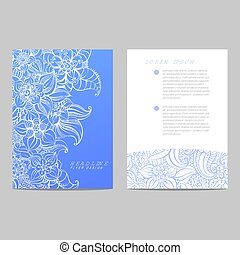 Invitation card with blue pattern
