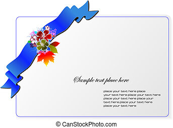 Invitation card with blue ribbon and flowers. Vector illustration.