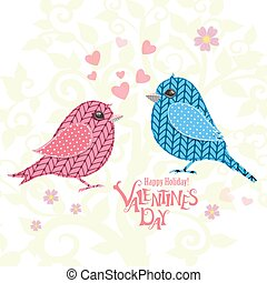 invitation card  with couple of knitted birds for your design