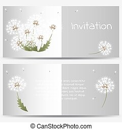 Invitation card with dandelions on grey background