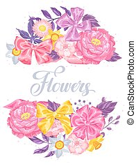 Invitation card with decorative delicate flowers. Image for...