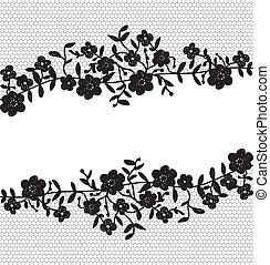 floral lace border - Invitation card with floral lace border