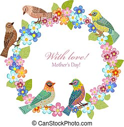 invitation card with floral wreath and birds for your design