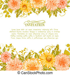 Invitation card with flowers. Vector illustration.
