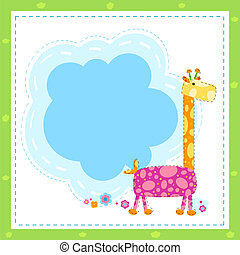 invitation card with giraffe