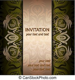 Invitation card with golden pattern and ribbon
