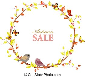 invitation card with graceful autumn wreath and birds for your d