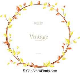 invitation card with graceful autumn wreath for your design