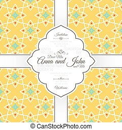 Islamic yellow pattern on white card template islamic vector invitation card with islamic yellow pattern invitation template stopboris Image collections