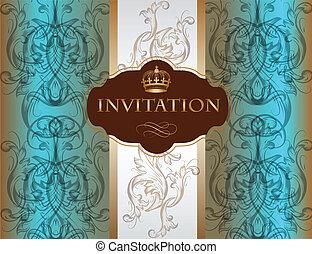 Invitation card with ornament in bl - Elegant classic...