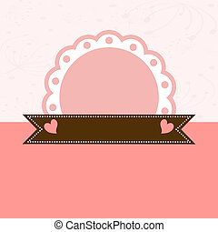 Invitation card with pink label. Vector illustration