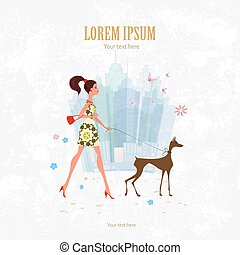 Invitation card with pretty girl and her dog are walking for you