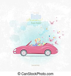 Invitation card with pretty girl in pink convertible with shoppi