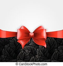Invitation card with Red holiday ribbon on vintage background