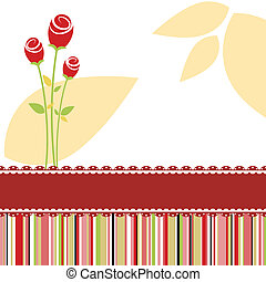 Invitation card with red rose flower