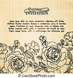 Invitation card with roses.