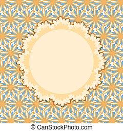 Invitation Card with round Vignette on Flower Pattern