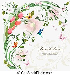 Invitation card with spring flowers. With love for your design.