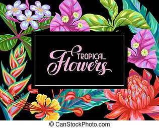 Invitation card with Thailand flowers. Tropical multicolor plants, leaves and buds