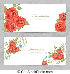 invitation cards with a red roses for your design