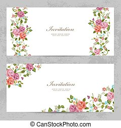 invitation cards with a rose for your design