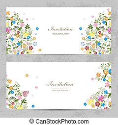 invitation cards with cute floral for your design