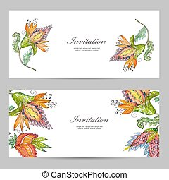 invitation cards with exotic abstract flowers for your design. w