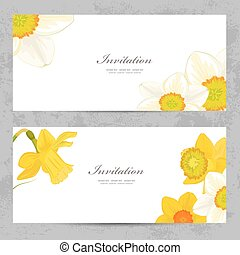 invitation cards with lovely daffodils for your design