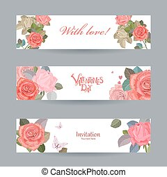 invitation cards with vintage roses with love for your design. h