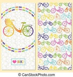 invitation, carte, à, vélo, dans, les, ch