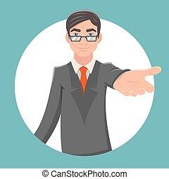 Invitation Cooperation Businessman Character Kindly Extend Hand Retro Vintage Cartoon Poster Design Vector Illustration