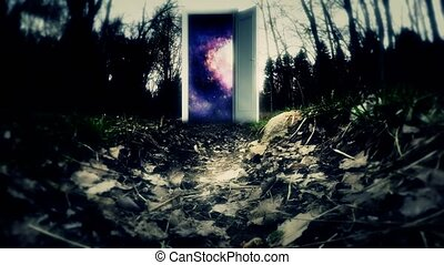 Invitation Cosmos Galaxy. Mysterious forest with a door. The...