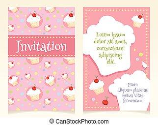 Invitation design with cupcakes