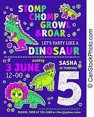 Invitation dinosaurs girl party birthday.