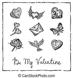 invitation, encre, retro, carte, valentin