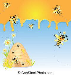 invitation, fête, bumble abeille