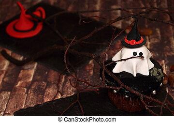 invitation, -, fantôme, halloween