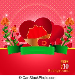 invitation for valentines day card with heart, flowers and ribbon
