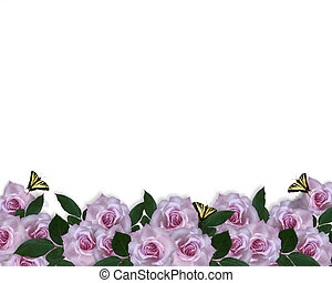 invitation, frontière, lavande, roses