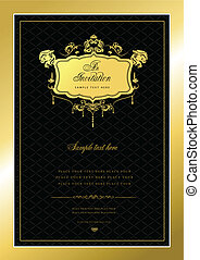 Invitation gold card. Wedding or Valentine`s Day. Vector illustration