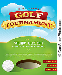 invitation, golf, conception, tournoi