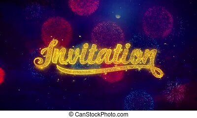Invitation Greeting Text Sparkle Particles on Colored Fireworks