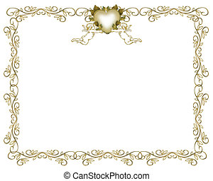invitation, guld, bryllup, grænse, engle