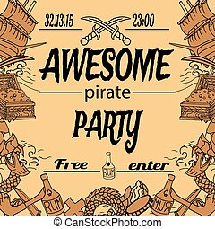 Pirate invitation with treasure map for your info eps vector hand drawing style invitation with difrent elements stopboris