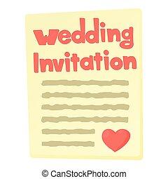 Invitation icon, cartoon style - Invitation icon. Cartoon...
