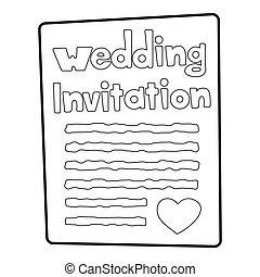 Invitation icon, outline style - Invitation icon. Outline...