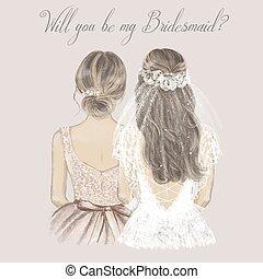 invitation., illustrazione, mano, damigella d'onore, lato, matrimonio, disegnato, vendemmia, lato, sposa, stile