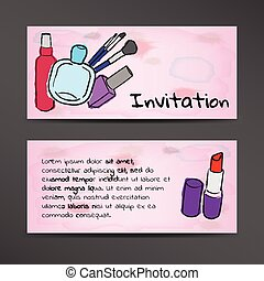 Invitation in watercolor style with the image of cosmetics