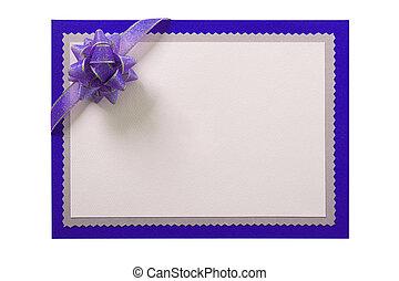 Invitation invite card blue border purple bow isolated