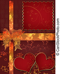 Wedding two hearts card invitation with red ribbons bow on stock invitation letter with hearts with bow on red stopboris Image collections